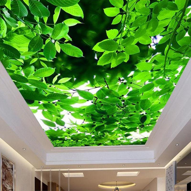 Wallpapers personalizado 3D PO papel de parede teto teto pano de parede folha verde moderno moda criativa pintura quarto quarto quarto