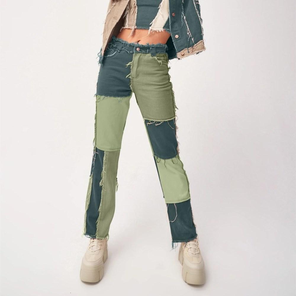 Femmes 2021 Jeunes de droite Femmes Contraste Contraste Couleur Patchwork Trendy Stylish Sauvage High High High Tail Denim Broek Met Meet Poet