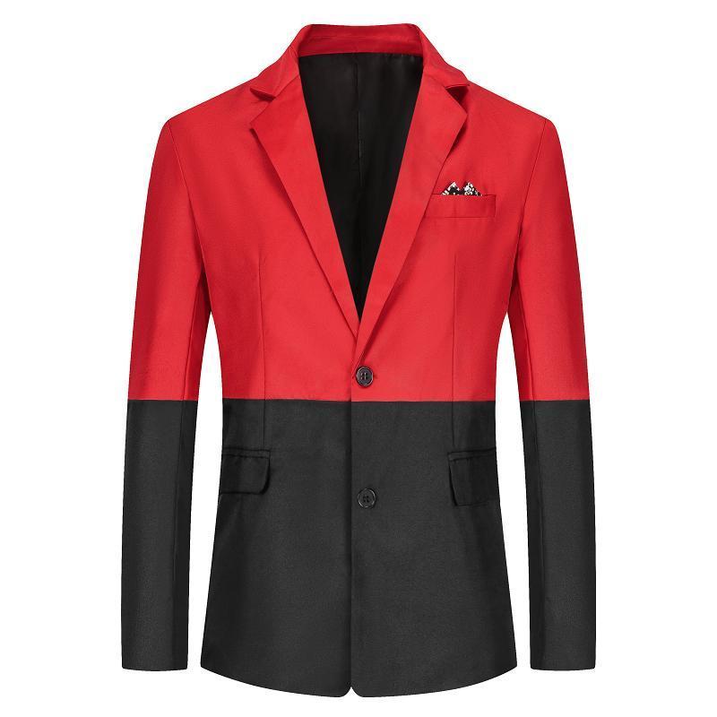 Men's Suits & Blazers Personality Splicing Suit Jacket Slim Business Casual Gentleman Party