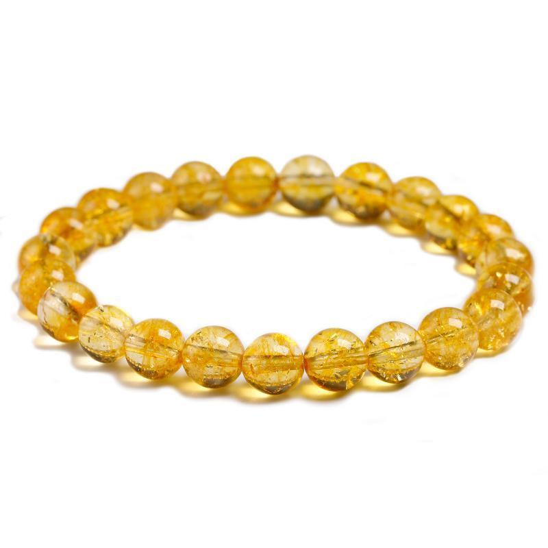 Piedra citrina amarilla natural 6 mm 8 mm 10 mm Pulsera Pulsera Hecho a mano de joyería de cuarzo para hombres hombres Unisex Straight Bangle Regalo con cuentas, hebras