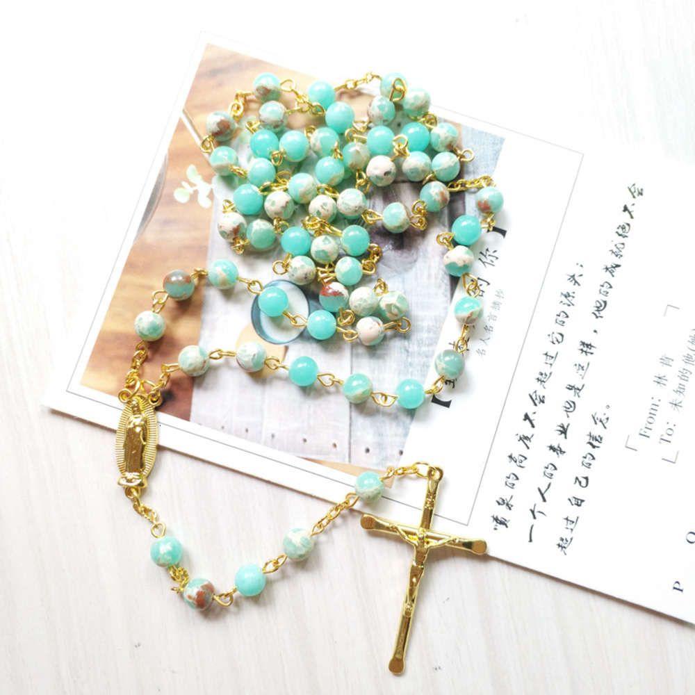 المعلقات الشعبية المجوهرات الدينية في إيطاليا الخرز الوردية الكاثوليكية المسيح يسوع الصليب قلادة