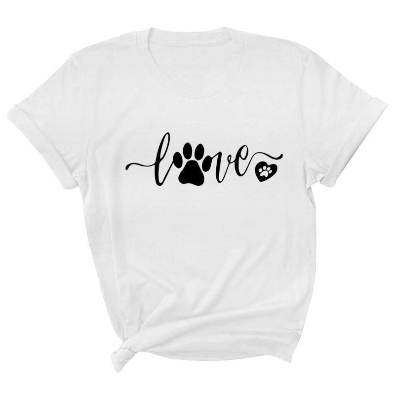 Köpek Ayak Yazı Kısa Kollu Yuvarlak Boyun T-shirt Kadınlar Ve Erkekler Için 2021 Yaz Rahat Moda Gevşek Tees Beyaz Üstleri Kadın