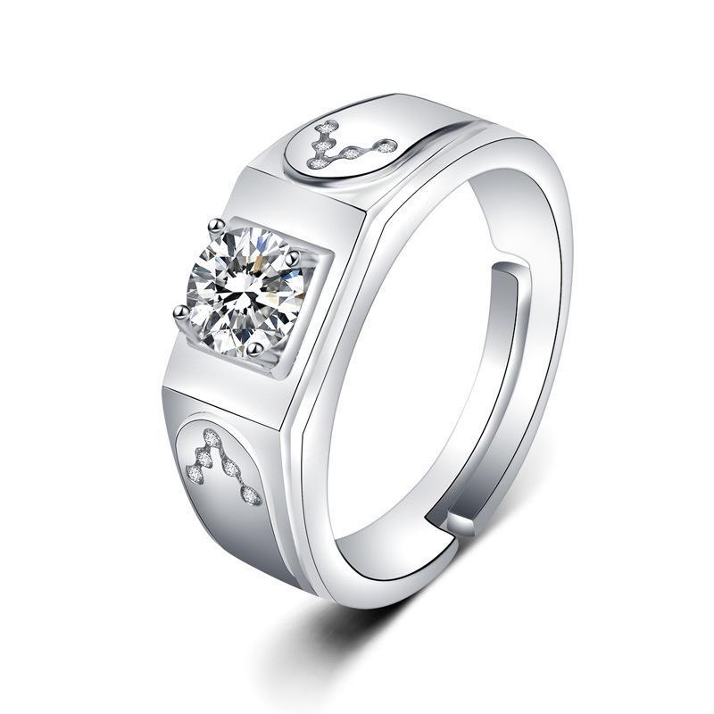 Bijoux européens et américains Bijoux de luxe bijoux généreux zircon blanc plaqué or hommes femmes bague en gros