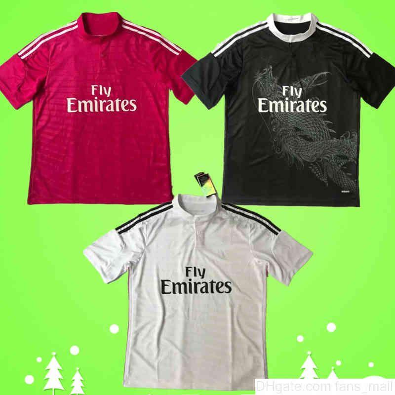 2014 2015 echt madrid retro fußball jersey 14 15 vintage home weiß weg rot dritter schwarz fußball hemd einheitlich chinesisch drache ronaldo benzema bale