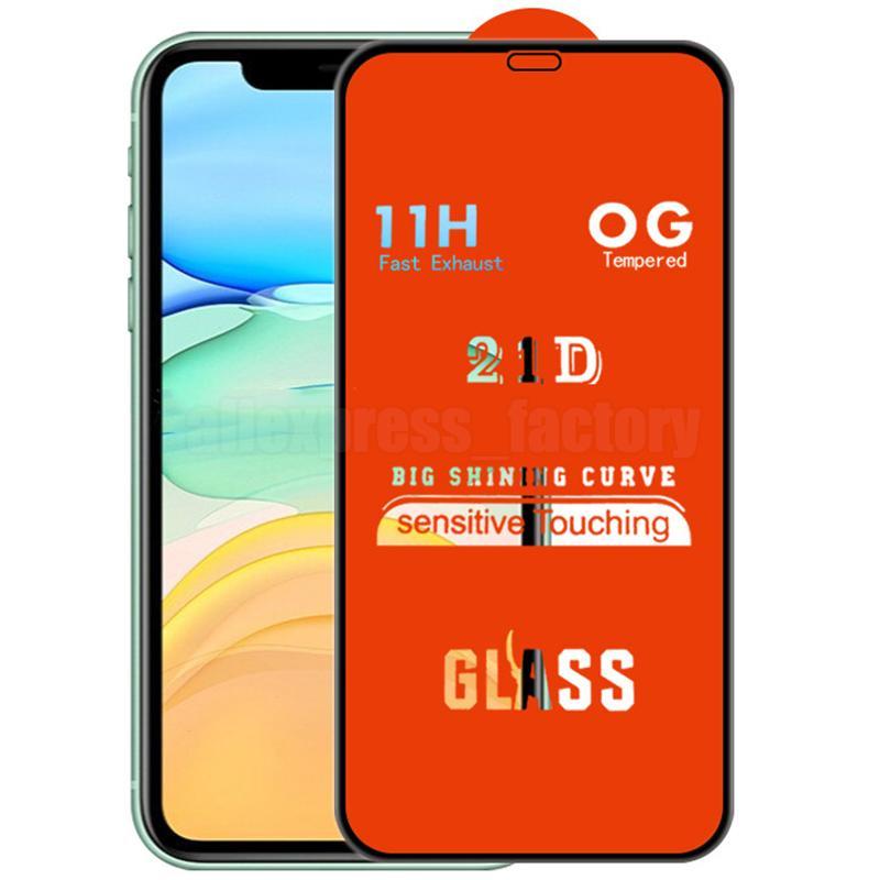 21D Pełny ekran Klej Ochraniacz Szklany Dowód Ochronny Zakrzywiony Premium Cover Guard Film Shield dla iPhone 13 Pro Max 12 mini 11 XS XR X 8 7 6 6S PLUS SE
