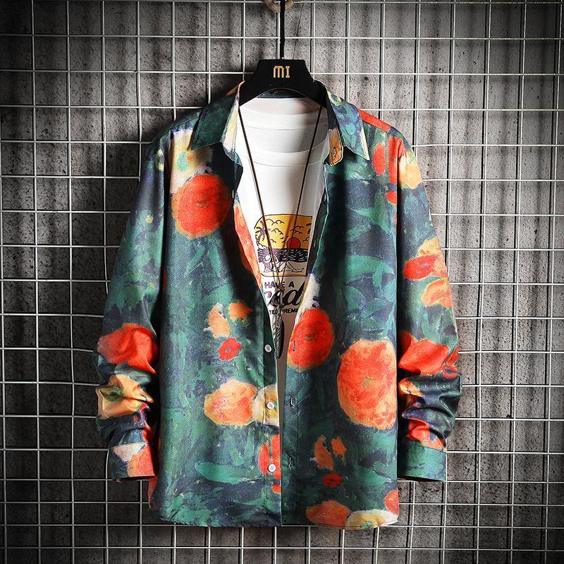 네 플로하 남성용 그래픽 인쇄 셔츠 일본식 남자 캐주얼 오버 사이즈 셔츠 스트리트웨어 봄 여름 남성 하라주쿠 블라우스