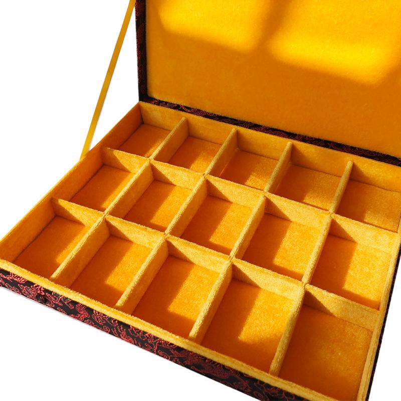 12 15 20 30 30 Grid Slot Box di gioielli in legno Contenitore di stoccaggio Caso di fascia alta Caselle di seta cinese Caselle di seta Collezione Regalo di imballaggio
