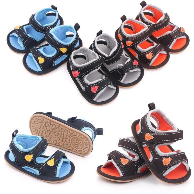 여름 패션 아기 소년 소녀 샌들 중공 통기성 신발 유아 고무 유일한 미끄럼 방지 첫 번째 워커 0-18M 스타일