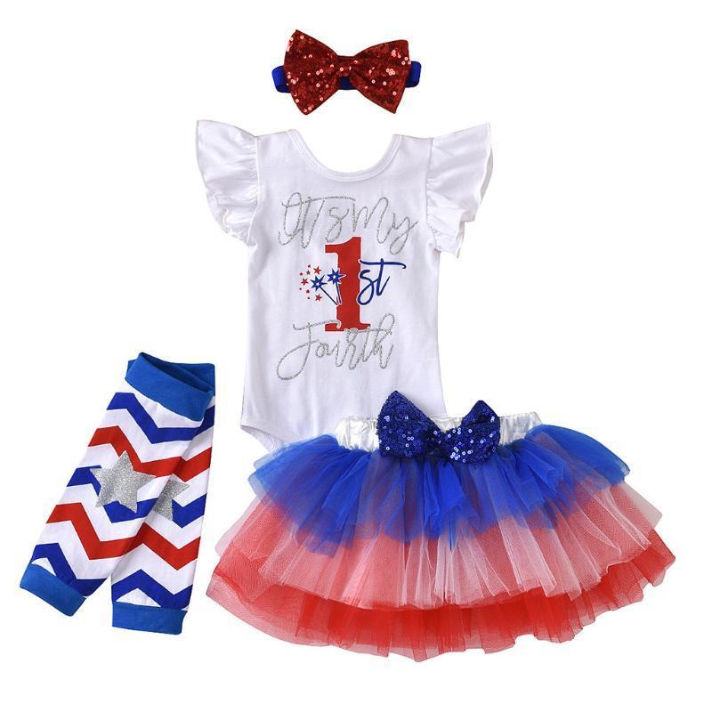 Toddler Bebek Çocuk Kız Amerika 4th-Temmuz Romper Tutu Etek Hairband Kıyafetler Setleri Giyim