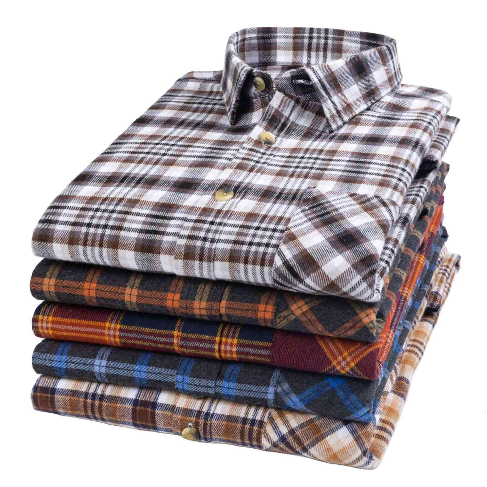 2021 camisa de los hombres sabor de algodón puro helada a cuadros de negocios informal
