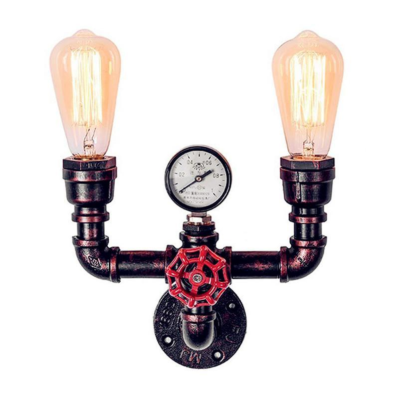 Water Pipe LED Wall Lamps Retro Industrial Style Design Iron Rust Light Vintage Loft Lamp For Bar Cafe Aisle Living Room