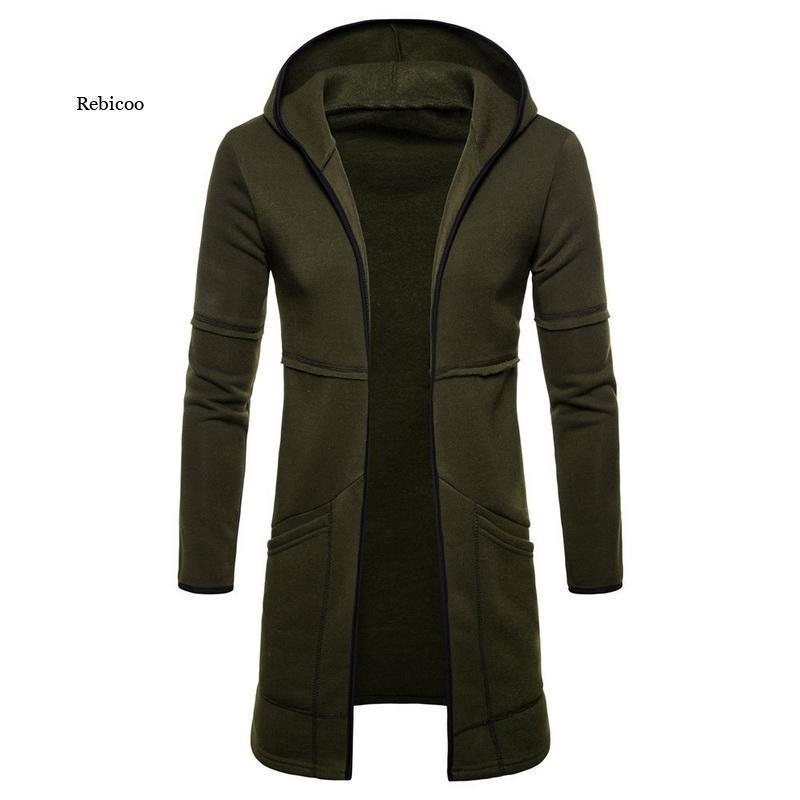 Herren Hoodies Sweatshirts Männer Sweatshirt Mantel Mode Herbst Streetwear Lange Offene Front Mantel Mäntel Manteljacken