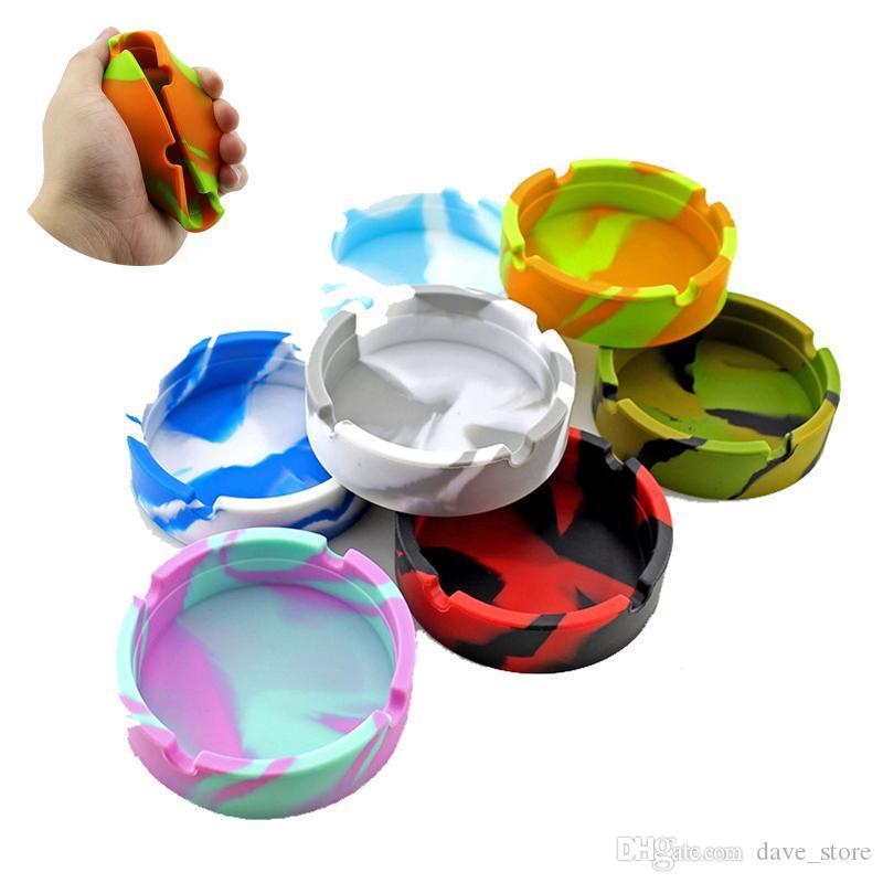 Camouflage Silicone Soft Round Ashtray Ash Tray Holder Luminous Portable Anti-scalding Cigarette Holders Multicolor