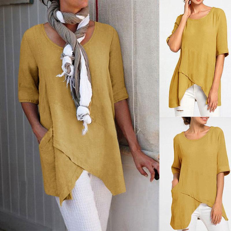 Женская футболка 2021 летние круглые шеи сплошной цвет нерегулярной сшивания с коротким рукавом свободная куртка