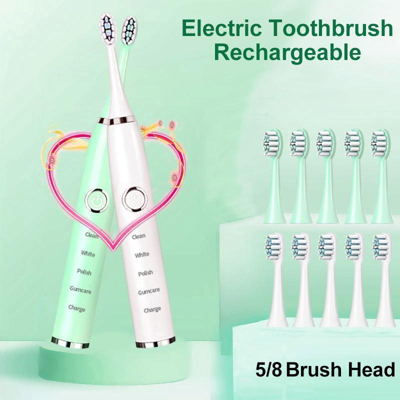 Spazzolino da denti elettrico Sonico per adulti Bambini Bambini Timer Pennello 5 Modalità Caricabatteria USB Spazzole per denti ricaricabili Set di testa di ricambio Set Gargle Wash Lavaggio Forniture flessibile pulito