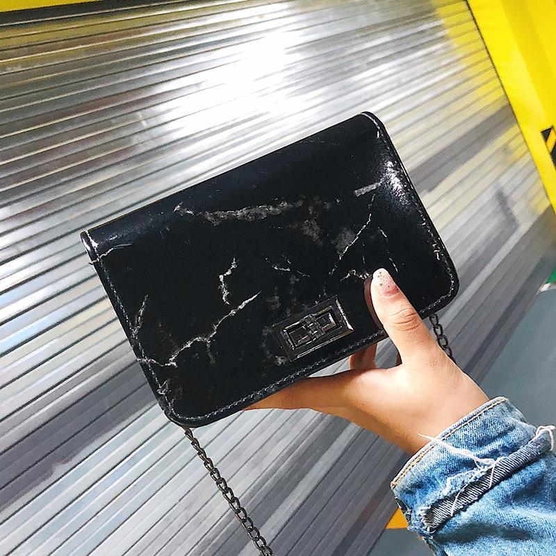 Evening Bags For Women 2021 Marble Pattern Shoulder Bag Designer Handbags Lock Buckle Wild Messenger Small Square Black White