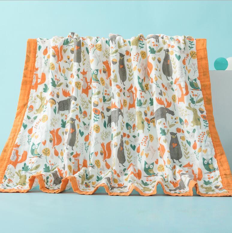 6 개의 레이어 코튼 일반 거즈 아기 어린이 목욕 수건 베이비 담요 만화 인쇄 수건 퀼트 흡수성 통기성 120 * 150cm