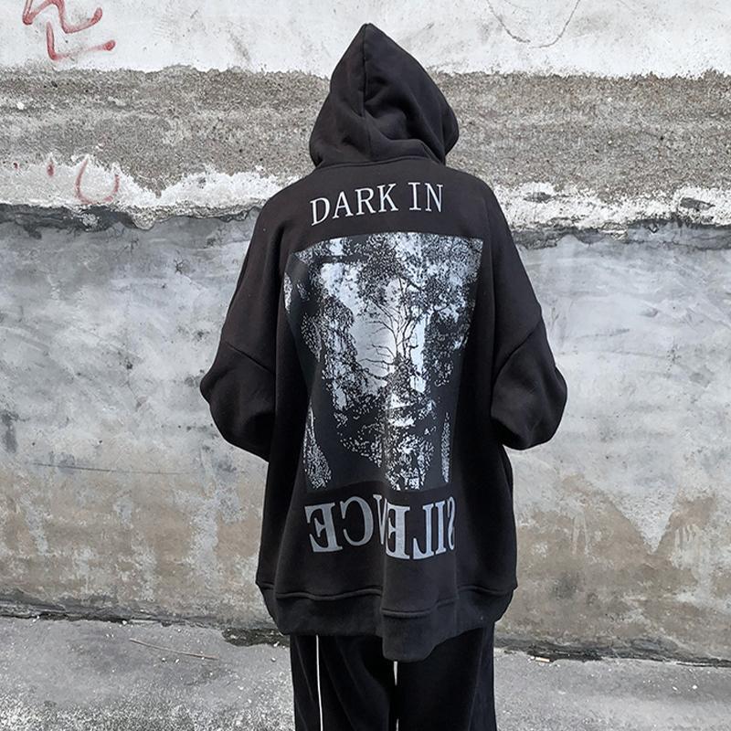 Felpe con cappuccio da uomo Felpe nero Gothic Felpa con cappuccio Streetwear Tops Maschio Harajuku High Street Coreano Felpa con cappuccio Cashions Giapponese Giapponese