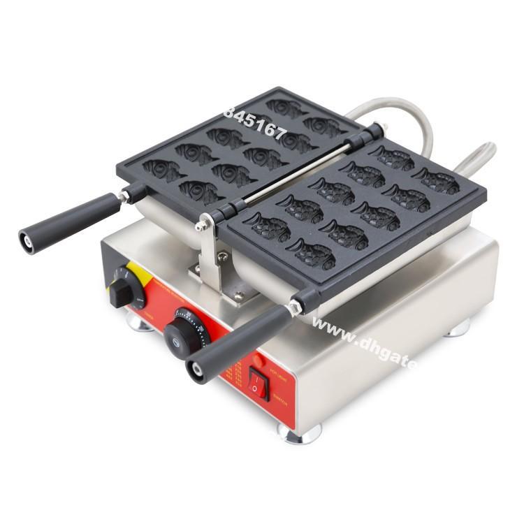 Ticari Kullanım Yapışmaz 110 V 220 V Elektrikli 10 adet Mini Küçük Goldfish Waffle Baker Taiyaki Makinesi Makinesi