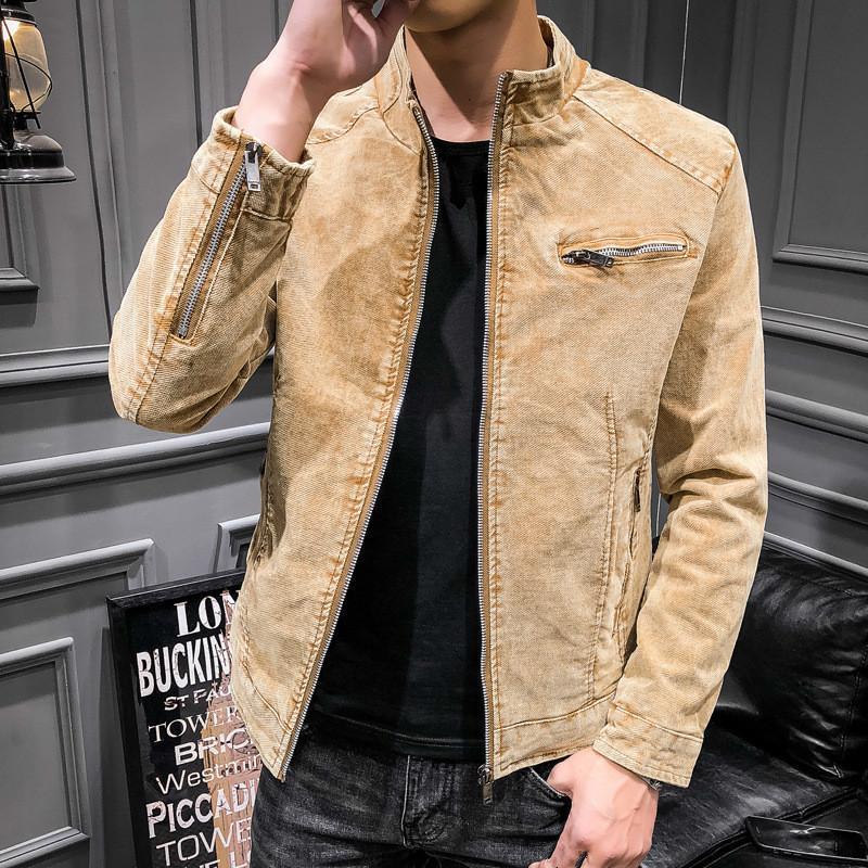 Retro Denim Jacket Men Autumn Winter Casual Thick Yellow Male Korean Mens Slim Cotton Vintage Oversized Coat Boy Tops 3xl
