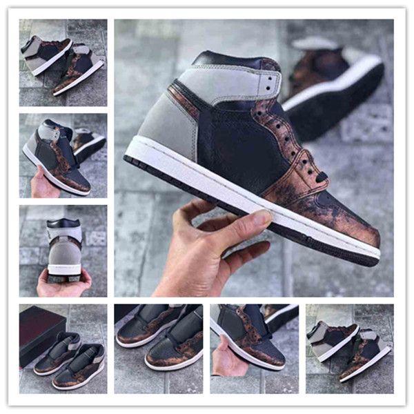 1 Yüksek OG Patina Erkekler Basketbol Ayakkabıları 1 S Pas Gölge 2.0 Siyah / Işık Ordu-Sail-Taze Nane Kadın Açık Sneakers