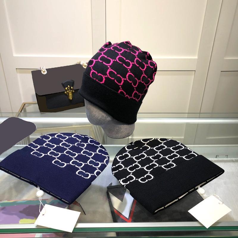 Casual uomo donna maglia beanie autunno inverno lana berretto in lana lettera stampata tappi cranio con tags coppia designer cappello caldo regalo