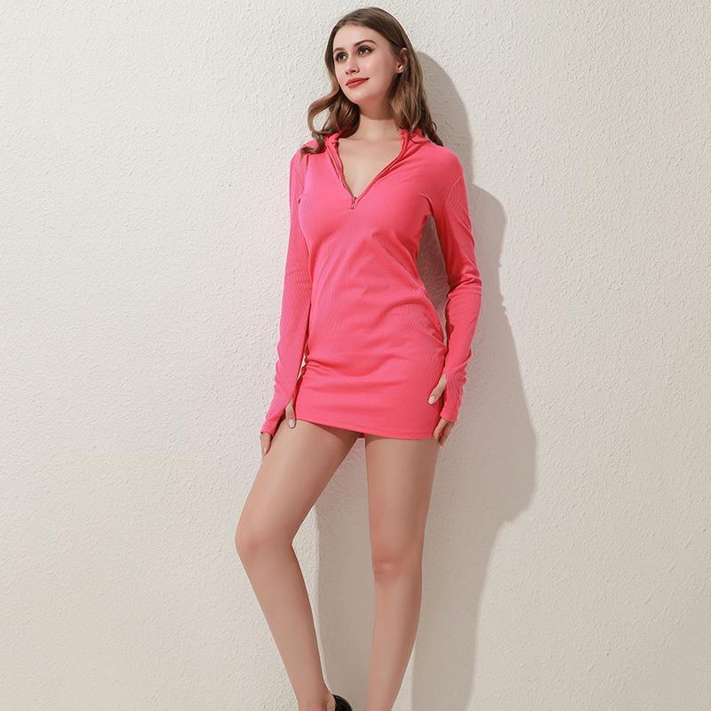 Frauen Kleid Winter Herbst Bodycon Ripper Stehkragen Reißverschluss Deep V Hals Solide Stretch Bleistift Mini für weibliche lässige Kleider