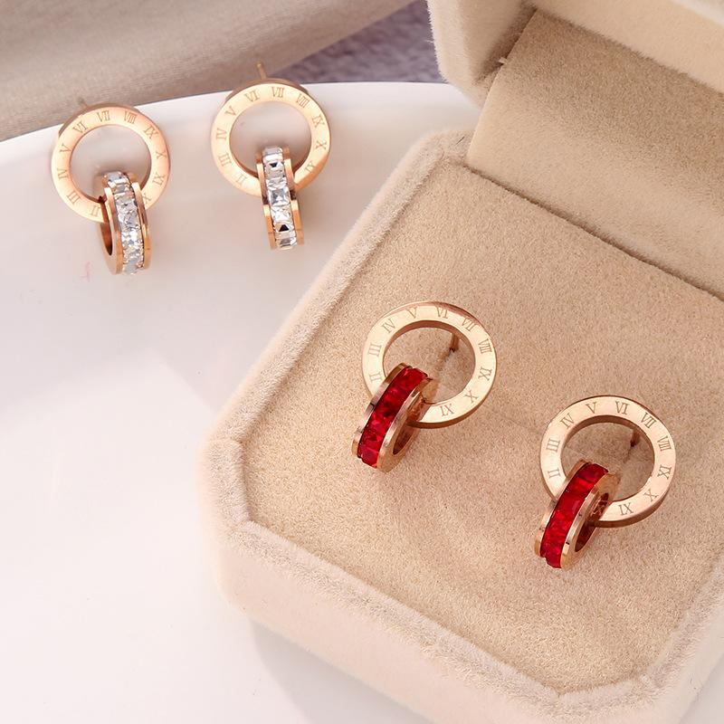 Orecchini in cristallo diamante orecchini rosa oro moda titanio acciaio doppio ferita numeri romani perno orecchini per le donne gioielli regalo mai dissolvenza non allergica