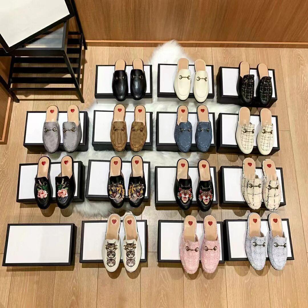 2021 Varış Tasarımcı Üst Moda Marka Terlik Loafer'lar Bordo Deri Tuval Erkek Bayan Princetown Stil Casual Gilrl Ayakkabı ile Metal Toka 34-46 Boyutu