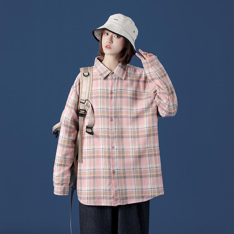 신이치 캐주얼 체크 무늬 남성 셔츠 남성용 코튼 느슨한 긴 소매 셔츠 다기능 코트 남성 5 색 크기 M-5XL
