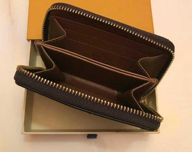 Diseñador de lujo Classic Zippy Wallet Short Wallet Womens Zipper Brown Wallet Mono Gram Moda Moda Cuero Check Plaid Wallet