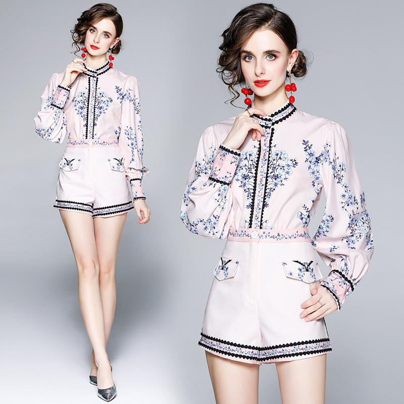 2021 Hot New Womens Autumn Set Shirt+pants Two Piece Set High End Trend Girl Blouse Pants Lantern Sleeve Ladies Printed Suits