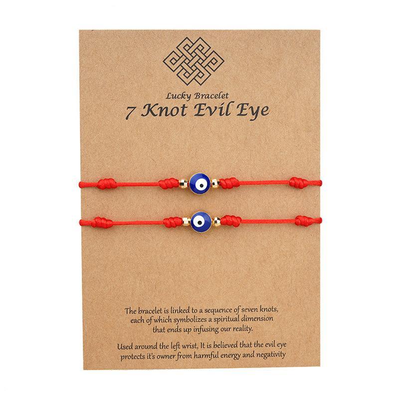 7 nodi blu blu malvagio occhio braccialetto carta carta braccialetto regolabile fortunato rosso corda braccialetti coppia gioielli amicizia braccialetto 2psc / set