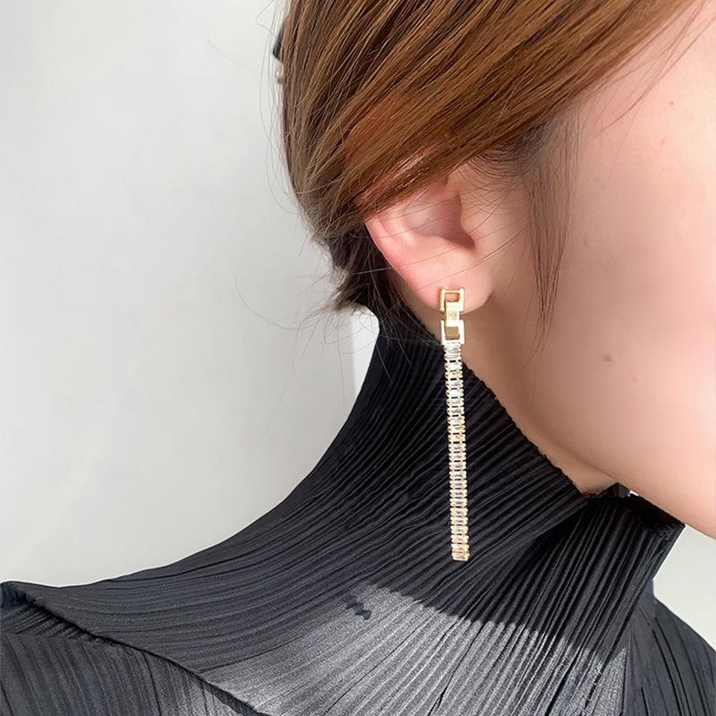 Charme bijoux véritable plaqué or 925 argent aiguille zircon boucles d'oreilles pendentif coréa orientale porte Web célébrité tempérament personnalité