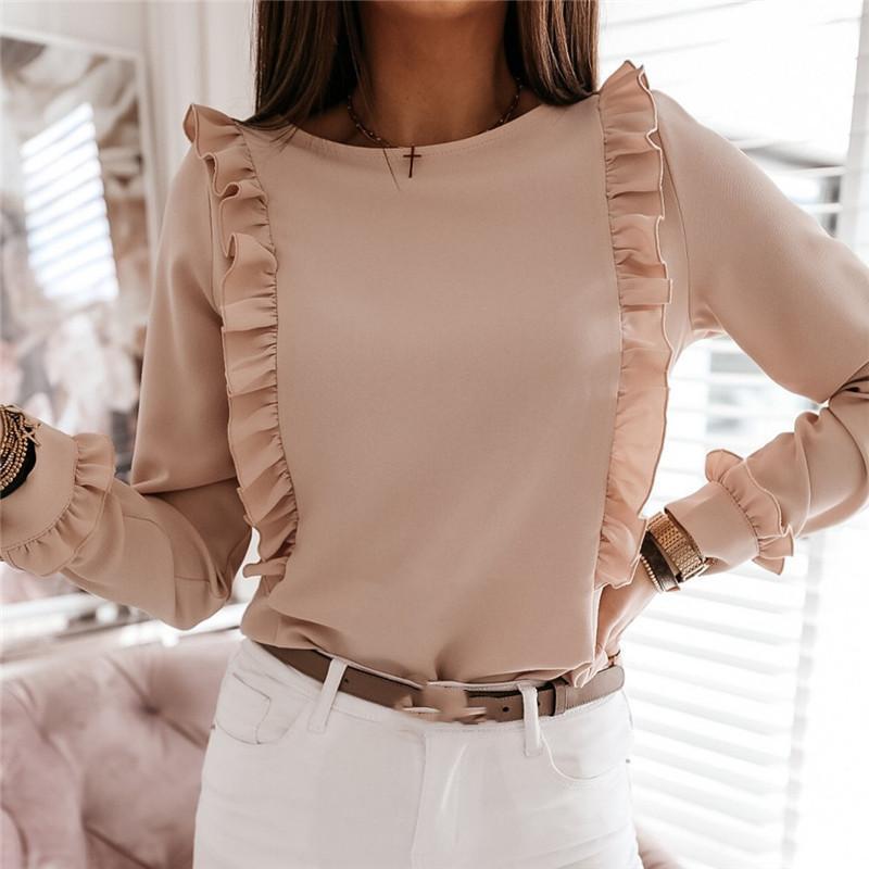 Shirt Women Ruffles Fly Sleeve Ba Buttons Up Blouse 2021 Outwear Casual Long Sleeve Loose Tops Long Sleeve OL Shirt