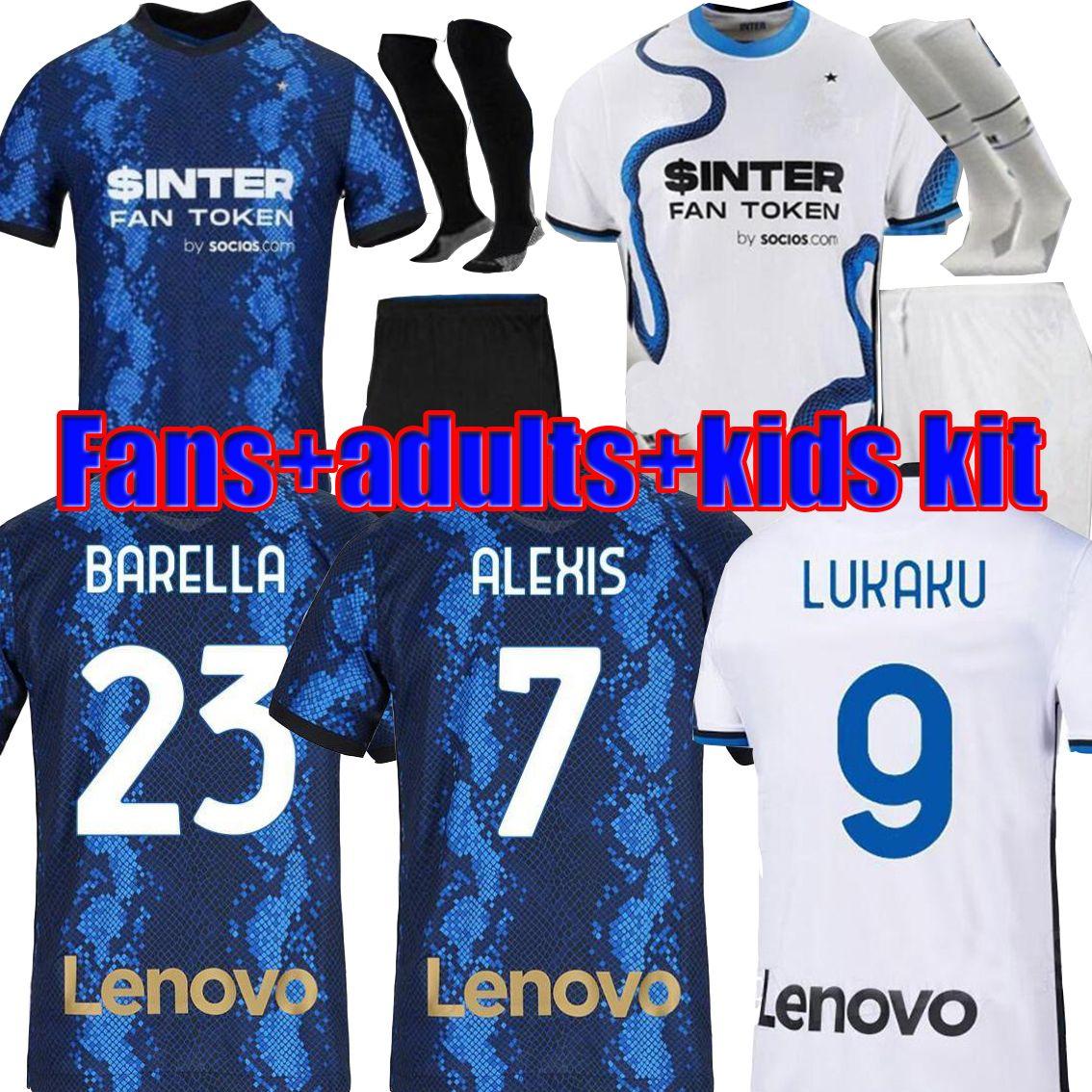 Version du joueur de fans Away 21 22 Blue Soccer Jersey Hommes Kit enfants 2021 2022 Chaussettes de chemise de football Set Uniformes