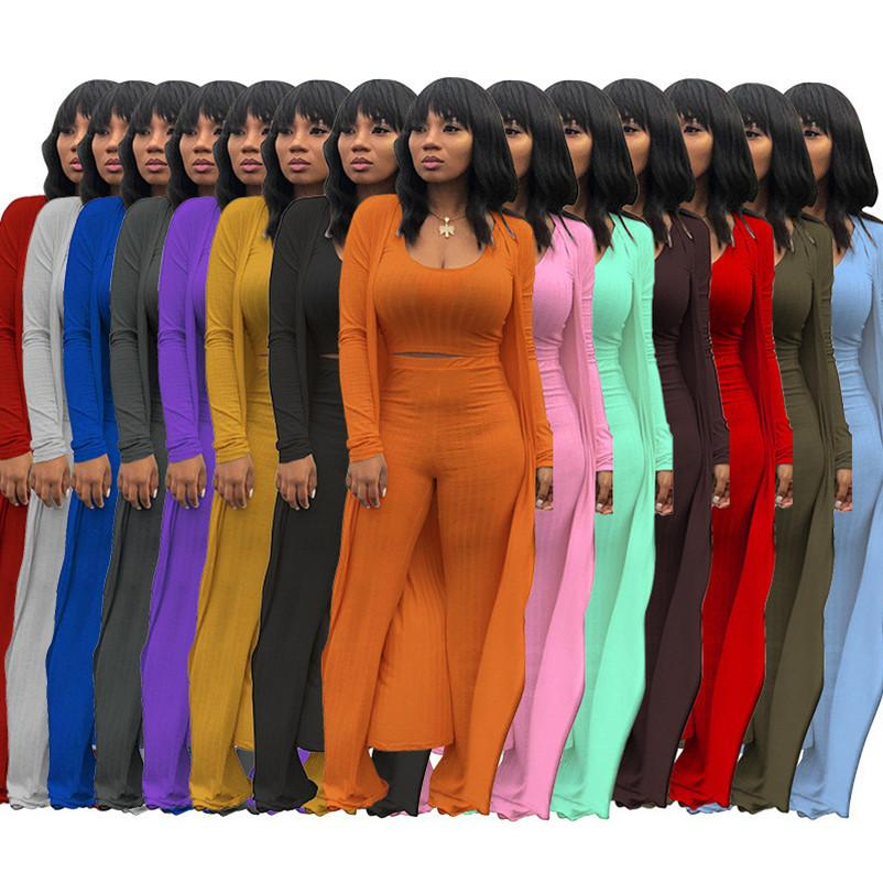wholesale 3 piece set long sleeve cardigan vest pants outfits tracksuits sportswear fashion solid top trousers sweatsuit pullover legging suits klw7232