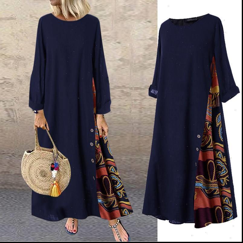 Damenkleid Frauen Lange Maxi Vintage Patchwork Bedruckte Baumwolle Vestidos Casual Lose Sommerkleidungsrobe Femme Plus Größe 7