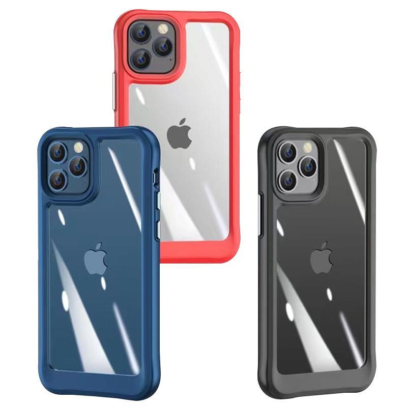 Capas de telefone acrílico híbrido à prova de choque de choque para iphone 12 11 pro max xr xs x 8 7 6 mais samsung s21 nota20 A02 A72 A52 A42 A32 A12 com pacote