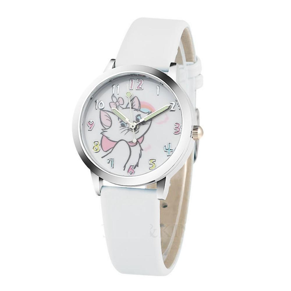 50 stücke Weiß Schöne Nette Kleine Katze Leder Uhren Kinder Kinder Jungen Mädchen Studenten Mode Casual Party Kleid Geschenkuhr