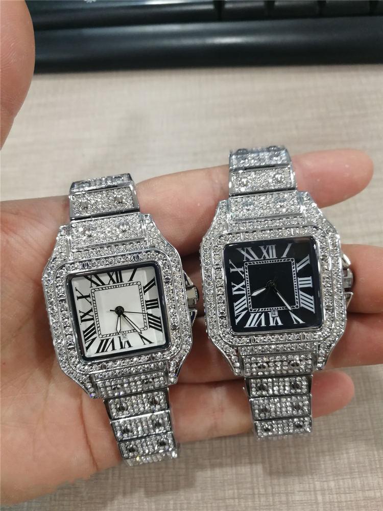 2021 고품질 망 여성 워치 전체 다이아몬드 아이스 밖으로 스트랩 디자이너 시계 쿼츠 운동 커플 연인 시계 손목 시계