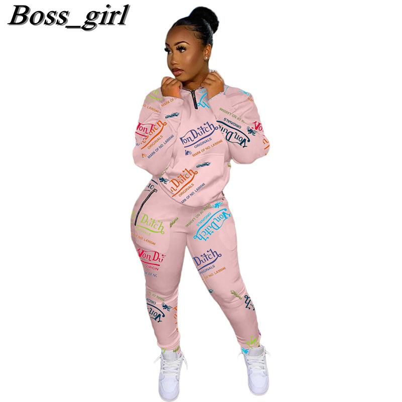 Women 2 Piece Jogging Set Designer Sports Casual Tracksuits Ladies Clothes Letters Printed Long Sleeve Sportsuit Outfits Sportwear