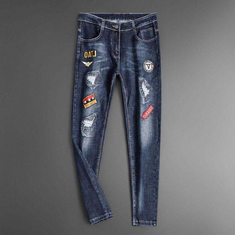Jeans masculinos bordados high street marca marca buraco slim perna pantalon hombre denim para homens hombre