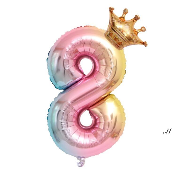 32inch Rainbow Foil Number Balloon with Crown Decor Wedding Anniversary Party Latex Balloons Kids Birthday Air Ball Supply DWF7812