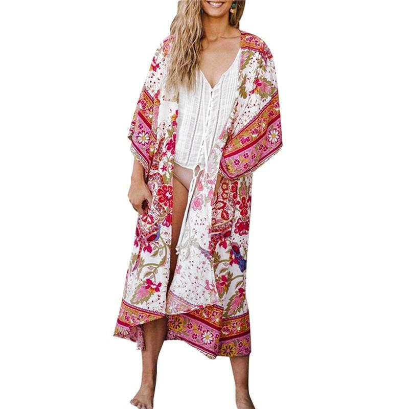Womens Loose Flower Print Bikini Cover-ups Woman Sunscreen Beach Dress Adults Half Sleeve Open Front Tops Sundress Women's Swimwear