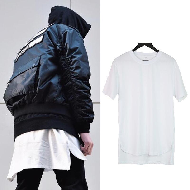 Bibo Street ins trendsetter туман сплошной цветной подол разделить переднюю заднюю футболку с длинным хип-хоп с коротким рукавом.