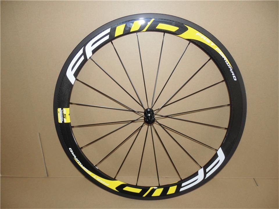 FFWD로드 노란색 60mm 바퀴 관형 탄소 도로 자전거 자전거 바퀴 23mm 더 넓은 탄소 섬유 바퀴