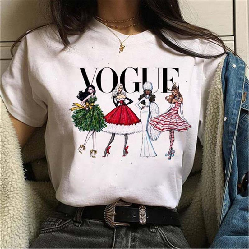 Frauen Harajuku T-shirt Vogue Grafik T-Shirt Mode Damen Gedruckt Frohe Weihnachten Rundhals Nette T-Shirts