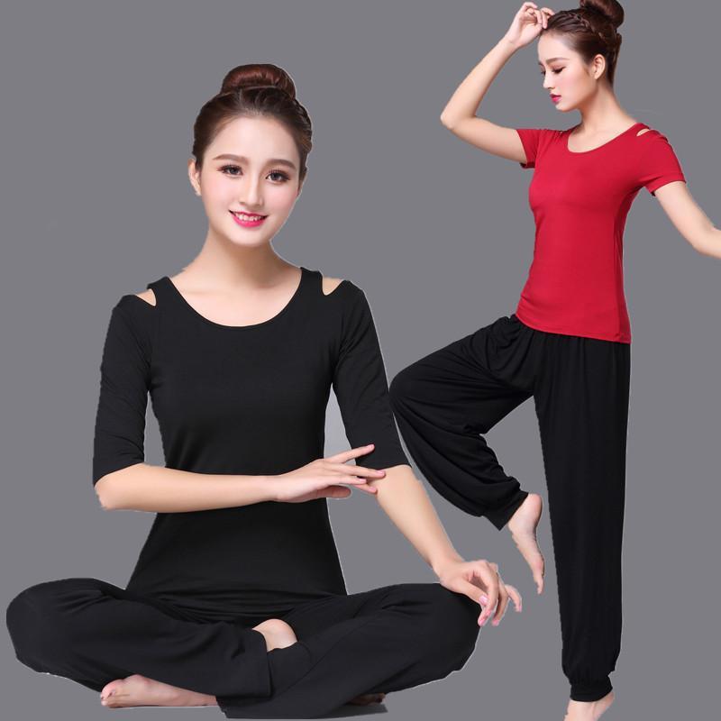 Duas peças mulheres sólidas cor de fitness yoga terno casual solto de manga curta calças esportes