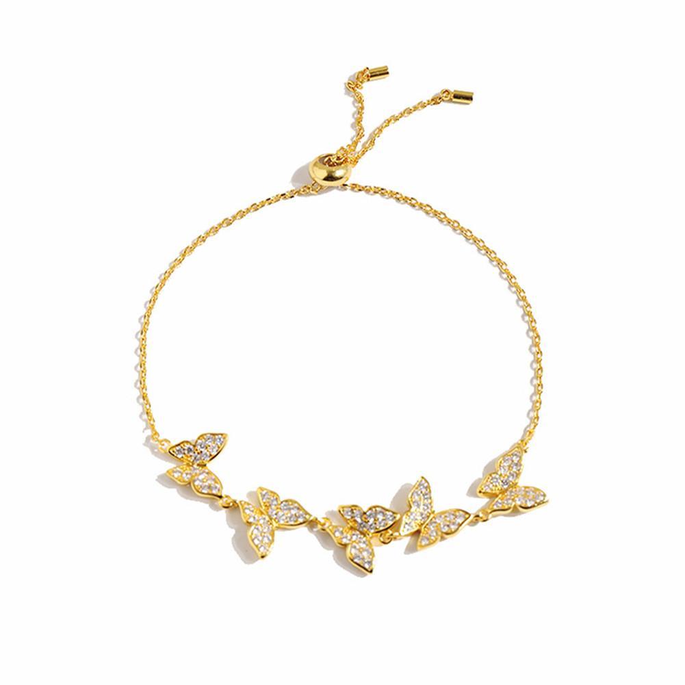 2021 Mode Exquisite Diamant Vier Blatt Kleefutter Schmetterling LLink Kristalle Schlüsselbein Kette Armband 18k Gold Für Van Womengirls Hochzeit Valentinstag Schmuck Geschenk